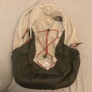 The North Face jester backpack, white gray orange